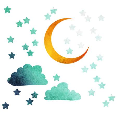 half moon: moon and stars Illustration