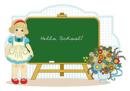 girl near school blackboard Vector