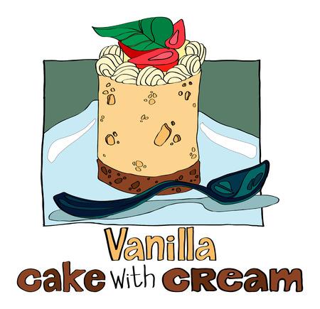 vanilla cake: Vanilla cake with cream