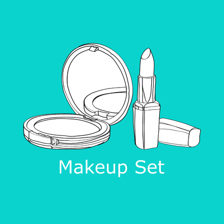 cosmetics set of powder and lipstick. vector illiustration Illustration