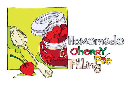 custard: homemade cherry pie filling Illustration