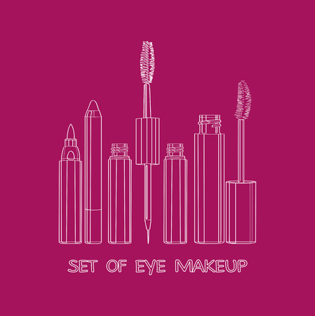 yeux maquill�: ensemble de maquillage pour les yeux Illustration