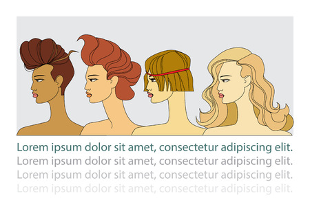 Set of four women with different hairstyles and skin tone color Ilustração