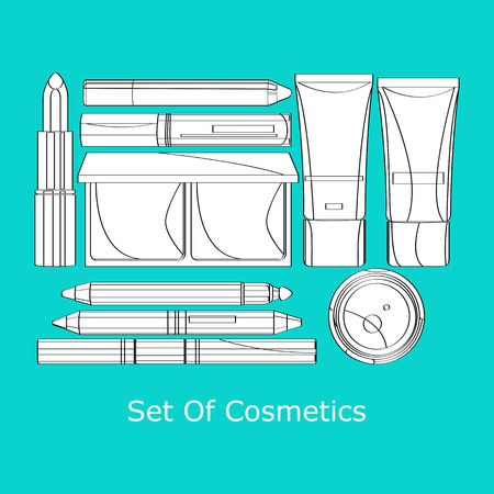 vector set of decorative cosmetics lipstick, powder, pencil, eye shadow, mascara several tubes of foundation and lip gloss 向量圖像