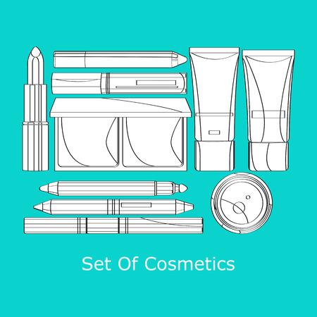 lip gloss: vector set of decorative cosmetics lipstick, powder, pencil, eye shadow, mascara several tubes of foundation and lip gloss Illustration