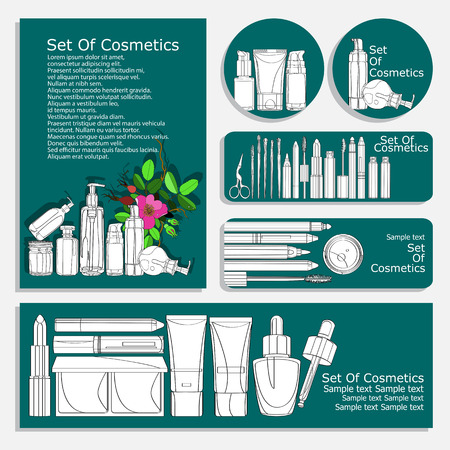 set of flyers for cosmetic products. vector set of corporate identity printed materials - brochures, folder, CD label, flyers, banners