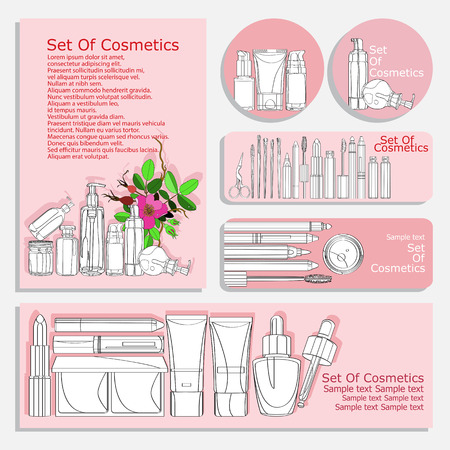 skin care products: set of flyers for cosmetic products. vector set of corporate identity printed materials - brochures, folder, CD label, flyers, banners