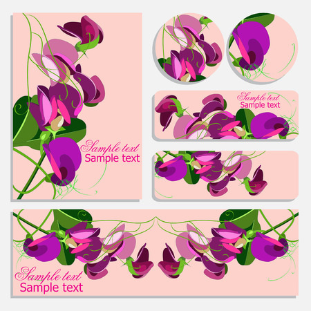 Set of floral vintage wedding cards, invitations.  Marriage event. flower pattern on templates.