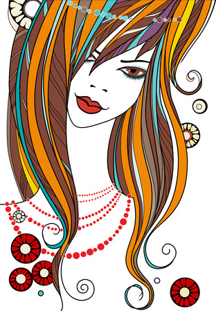 beautiful girl - vector illustration on white background. face of a beautiful girl with a pearl necklace