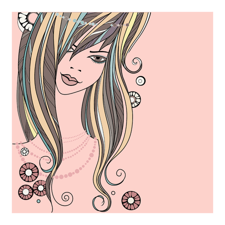 pearl necklace: beautiful girl - vector illustration on white background. face of a beautiful girl with a pearl necklace