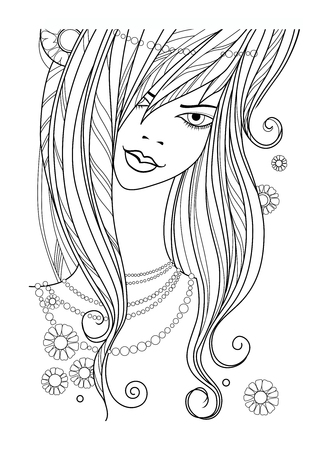 beautiful girl - vector illustration outline on white background. face of a beautiful girl with a pearl necklace Ilustração