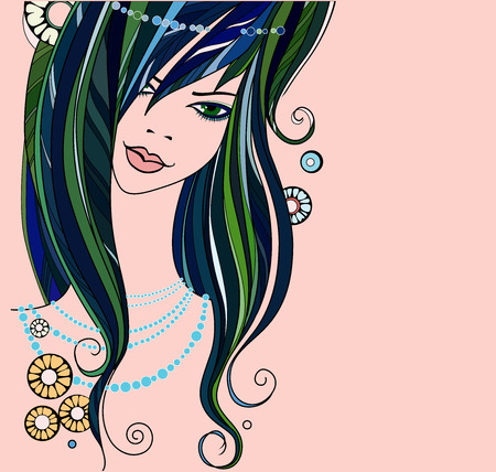 pearl necklace: beautiful girl - vector illustration. face of a beautiful girl with a pearl necklace