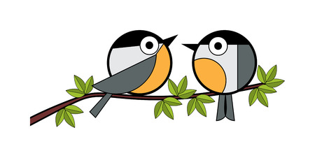 Two tits sitting on a tree branch. vector illustration on white background
