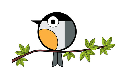 tit: one tit sitting on a tree branch. vector illustration on white background