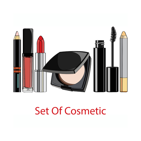 lip gloss: set of decorative cosmetics - powder, lipstick, lip gloss, mascara, lip liner, Concealer pencil. vector illustration for cosmetic banners, brochures and promotional items