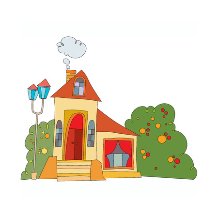 house in cartoon style with windows and roof in bright colors. vector illustration Ilustração
