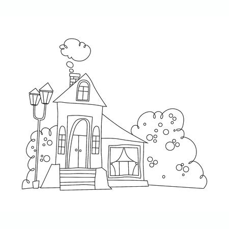 Ejemplo blanco y negro de la mansión. casa en estilo de dibujos animados vector del libro para colorear