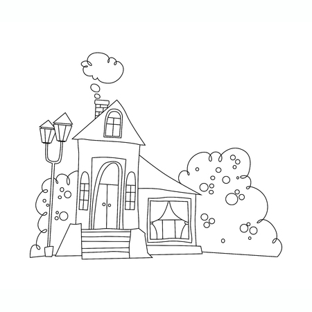 black and white illustration of the mansion. house in cartoon style vector Coloring book Stock Illustratie