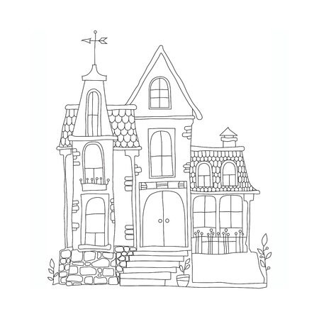 in cartoon style mansion. black and white vector illustration for children on a white background
