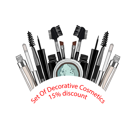 set of decorative cosmetics - eye shadow, liner, mascara, comb, brush, dropper, a balm for the eyes, eyebrow balm. 15% discount. vector illustration for cosmetic banners, brochures and promotional items Ilustração