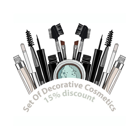 set of decorative cosmetics - eye shadow, liner, mascara, comb, brush, dropper, a balm for the eyes, eyebrow balm. 15% discount. vector illustration for cosmetic banners, brochures and promotional items Stock Illustratie