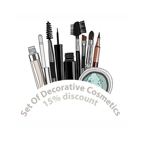 balm: set of decorative cosmetics - eye shadow, liner, mascara, comb, brush, dropper, a balm for the eyes, eyebrow balm. 15% discount. vector illustration for cosmetic banners, brochures and promotional items Illustration
