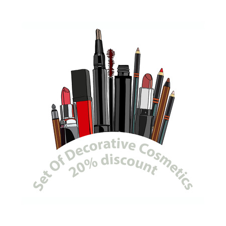 balm: set of decorative cosmetics - eye shadow, liner, mascara, comb, brush, dropper, a balm for the eyes, eyebrow balm. 20% discount. vector illustration for cosmetic banners, brochures and promotional items Illustration