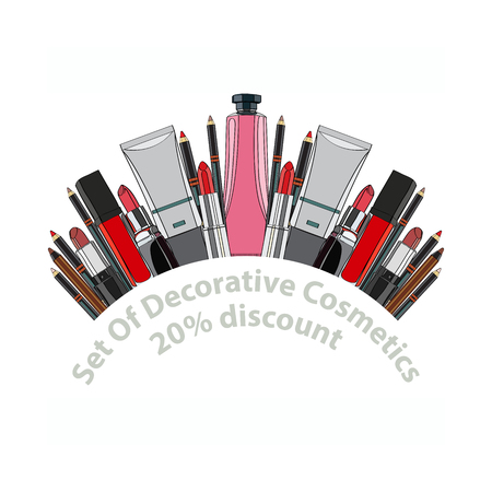 balm: set of decorative cosmetics - eye shadow, liner, mascara, comb, brush, dropper, a balm for the eyes, eyebrow balm, tubes. 20% discount. vector illustration for cosmetic banners, brochures and promotional items