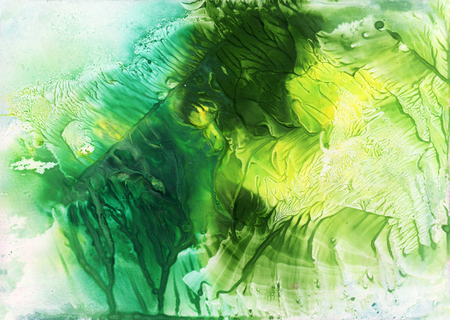 monotype: Abstract green and yellow watercolor background. Monotype effect. Colorful texture for your design.