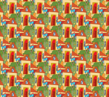 seamless pattern with houses in cartoon style. template childrens packages, fabric, cover Ilustração