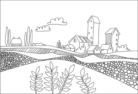 black  white village, field and plants in cartoon style. Italian landscape. vector illustration for coloring Stock Illustratie