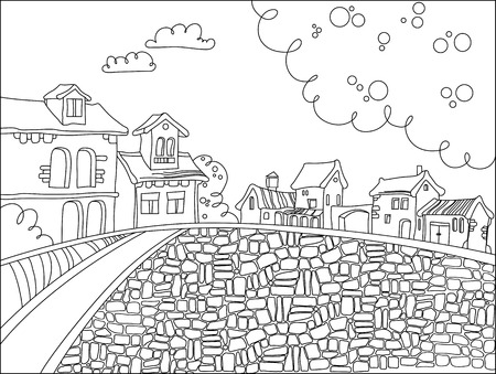 black and white town square in cartoon style. Hand drawn doodle  houses. vector illustration for a children's, adult coloring pages