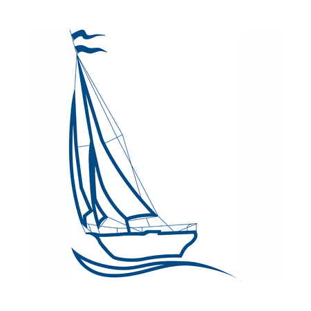 silhouette of sailboat, vector sign for sailing. Sea cruise -  . Design of the presentation of corporate identity on the example of a business card.