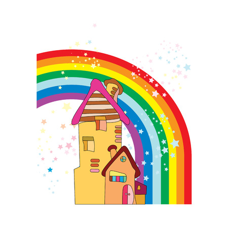 house of my dream. small house in cartoon style with a rainbow and stars. vector illustration isolated on white background
