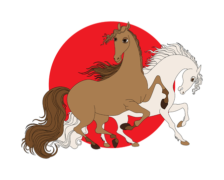 National Day of the horse in Japan. isolated vector illustration with two horses on a background of a red circle. Japan flag.