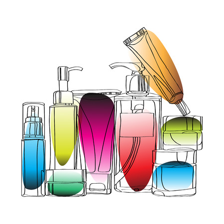 set of cosmetics.  vector illustration isolated on white background - black outline, colored bright spots.  Skin care bottles for liquid, cream, gel, lotion. Beauty product.