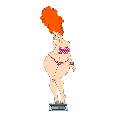 Woman on Weighing Scale. Vector iisolated illustration on white background Stock Illustratie