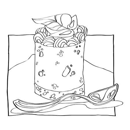 cake with cream and strawberries Stock Illustratie