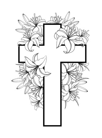 Cross with white lilies. Christian symbol of purity and innocence. black and white illustrations isolated on white background.