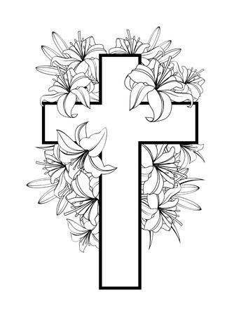Cruz con lirios blancos. símbolo cristiano de la pureza y la inocencia. ilustraciones en blanco y negro sobre fondo blanco.
