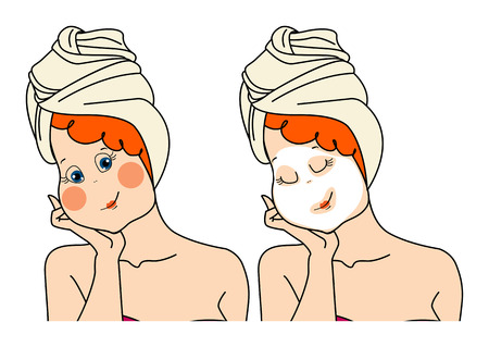 Woman makes a face mask.Two images of a woman pack. isolated illustration on white background