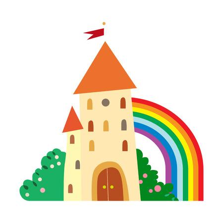 sprookjesachtige kasteel met fruitbomen en een regenboog.