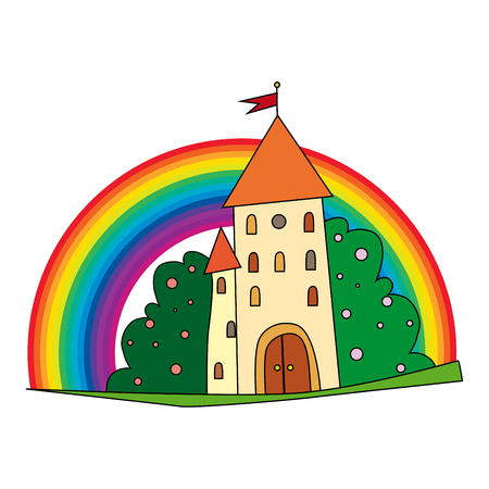 fairytale castle with fruit trees and a rainbow.