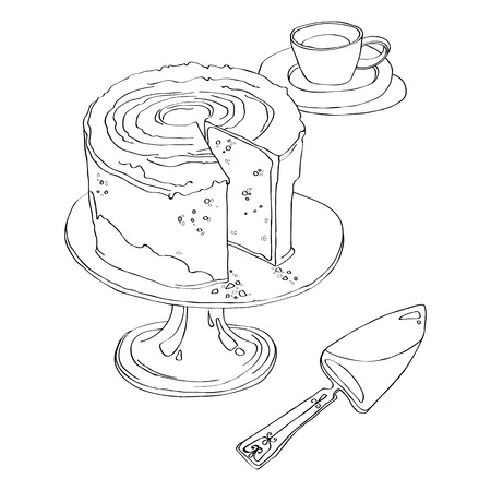 delicious cake stands on Pedestal Cake Plate with a cup of tea and spatula for a pie. black and white illustration isolated on white background. Stock Illustratie