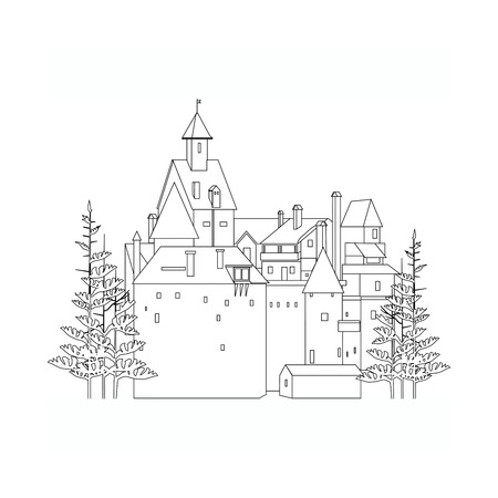 black and white castle among the firs Stock Illustratie