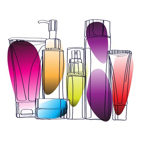 set of cosmetics  isolated on white background Stock Illustratie
