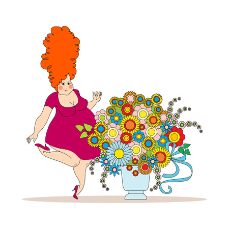 a bouquet of flowers to the day of the mother. full red-haired pretty woman with a vase of flowers 向量圖像