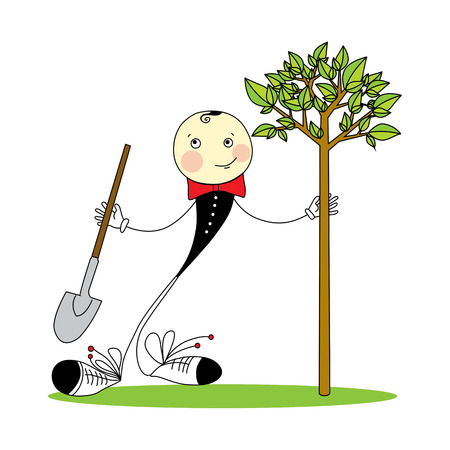 Greenery Day in Japan. cheerful boy with a shovel plants a tree Ilustração