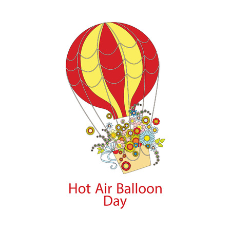 Hot Air Balloon Day. large color Hot Air Balloon with a bouquet of flowers Stock Illustratie