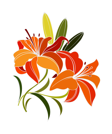 bright orange, scarlet lily flower with green leaves isolated on white background. decorative illustration